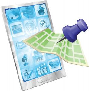 mobile schatzsuche kinder mit karte in fremder umgebung