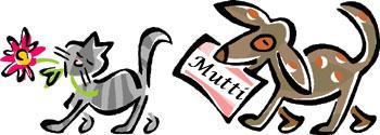 hund bringt gratis zum muttertag ein kärtchen für die katze